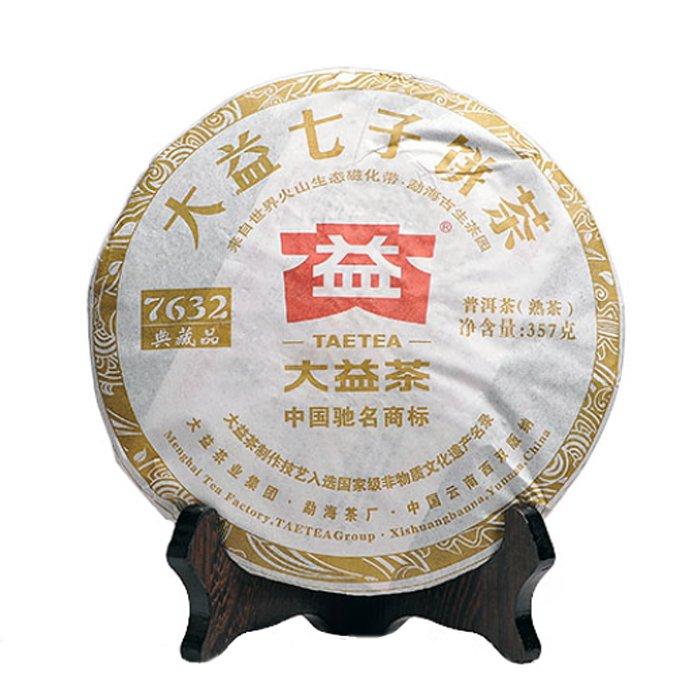 Шу пуэр, 7632, фабрика Менхай Даи, 2012 г., блин, 357 г