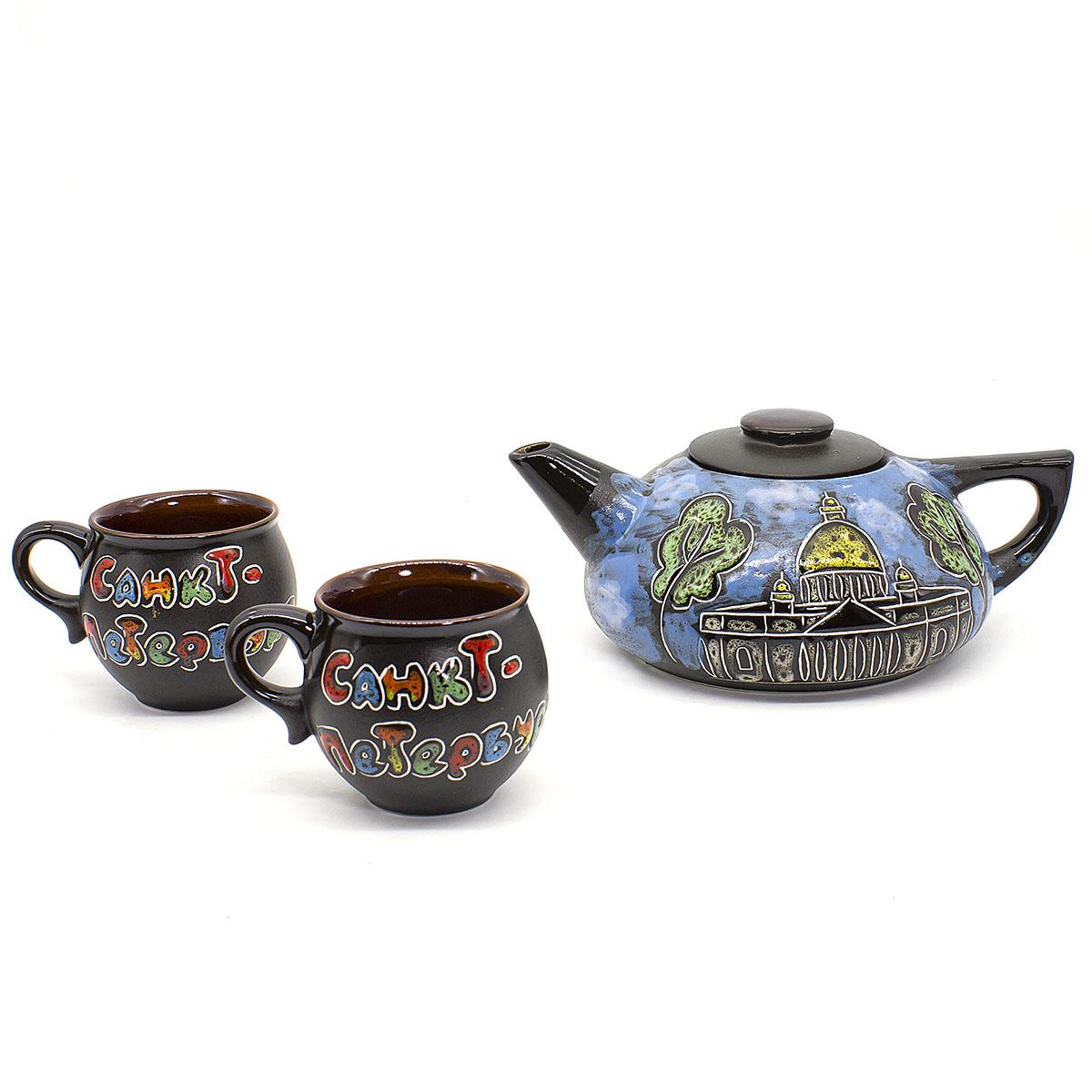 цена на Набор Санкт-Петербург: 2 чашки 200 мл и чайник 750 мл
