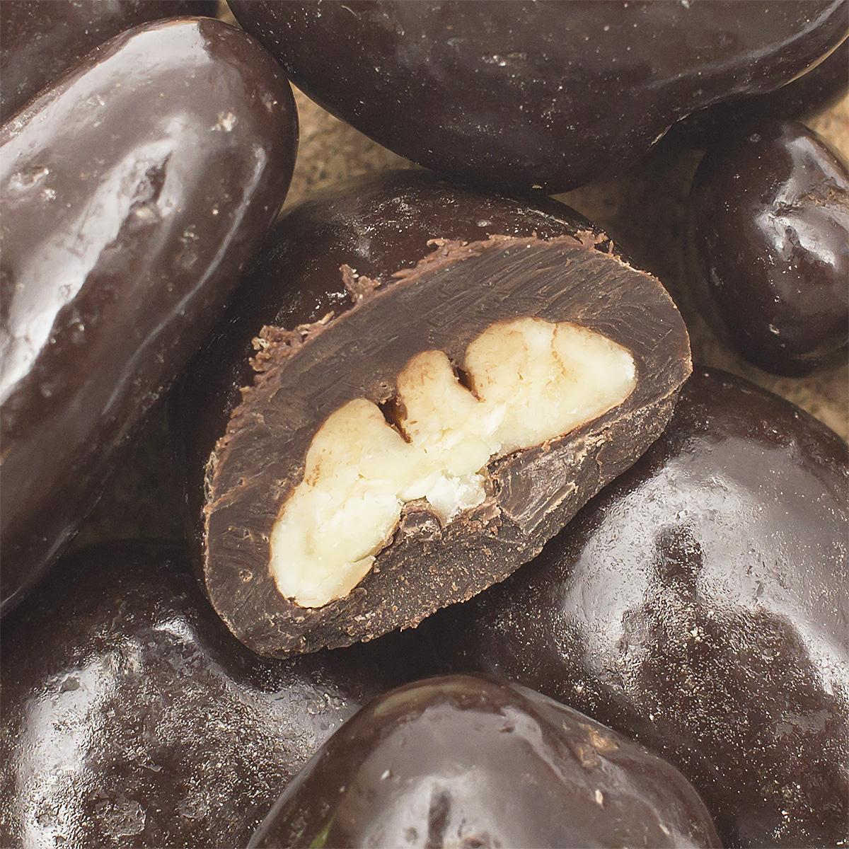 Пекан в темной шоколадной глазури пирожное маршмеллоу sweet plus zeffo в какао молочной глазури 150 г