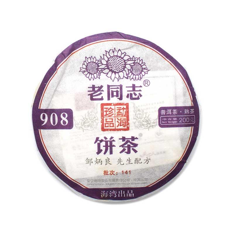 """Шу пуэр Лао Тун Чжи """"908"""", 2014 г, блин 200 гр."""