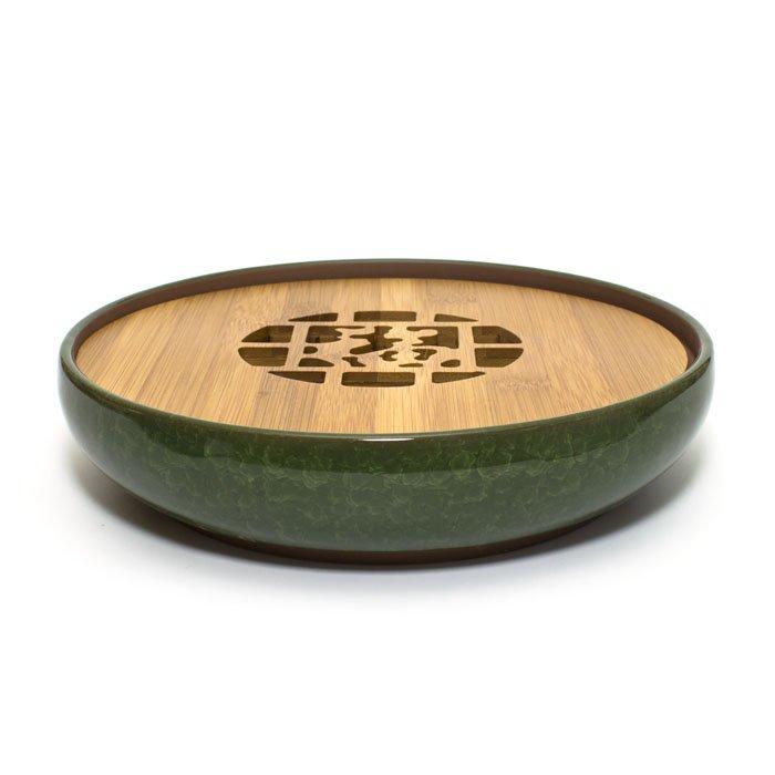 """Чайный поднос из керамики и бамбука """"Колотый лед"""" (зеленый) от 101 Чай"""