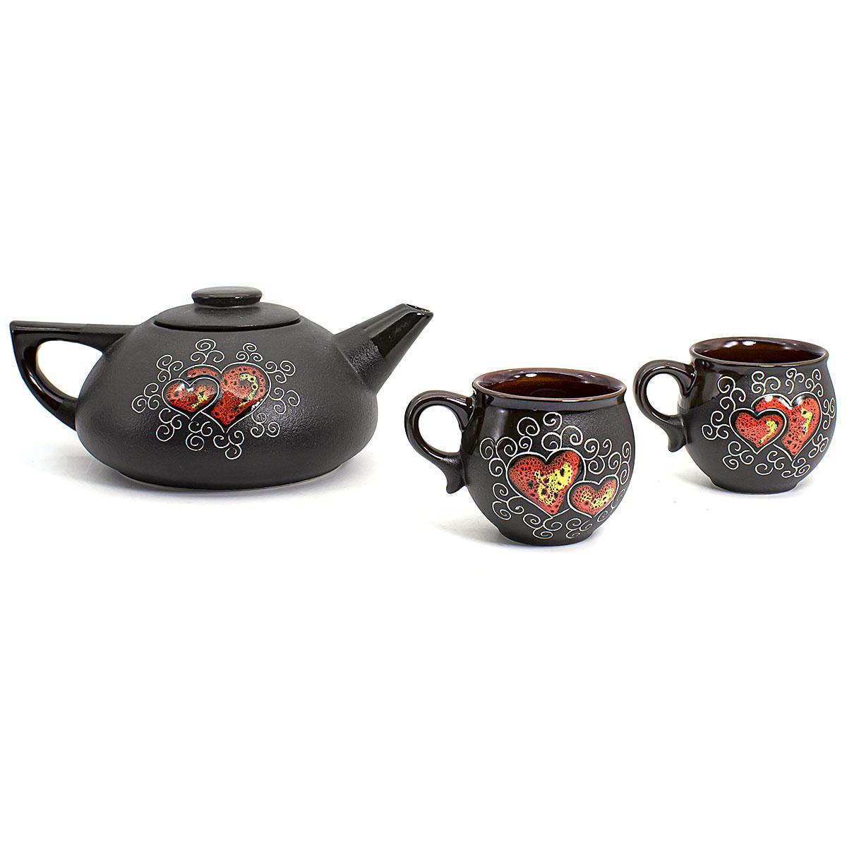 цена на Набор Пылающие сердца: 2 чашки 200 мл и чайник 750 мл