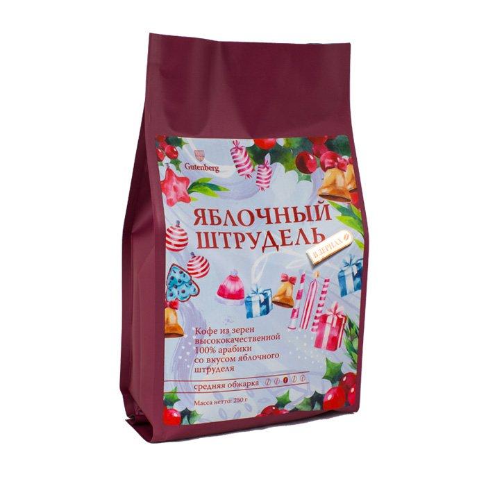 Кофе в зернах ароматизированный Яблочный Штрудель, уп. 250 г от 101 Чай