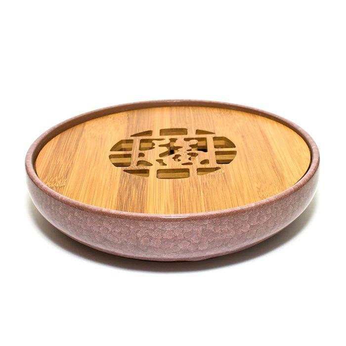 """Чайный поднос из керамики и бамбука """"Колотый лед"""" (сиренево-коричневый) от 101 Чай"""