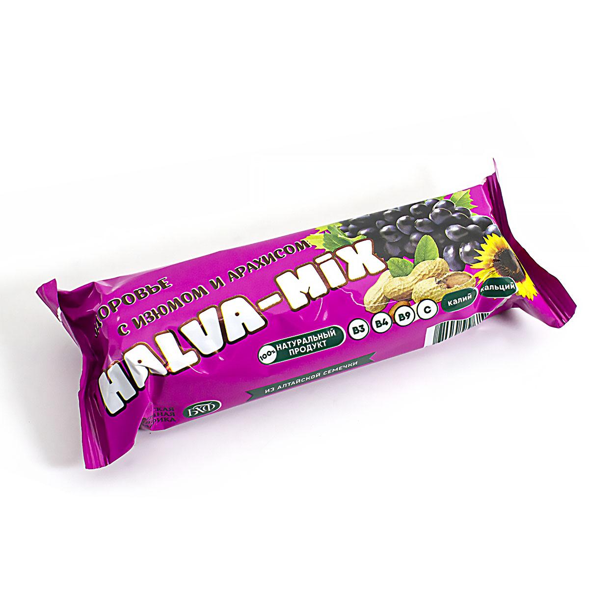 Батончик подсолнечный Halva Mix с изюмом и арахисом, в глазури, 60 г батончик протеиновый weider 32% protein bar ваниль 60 г