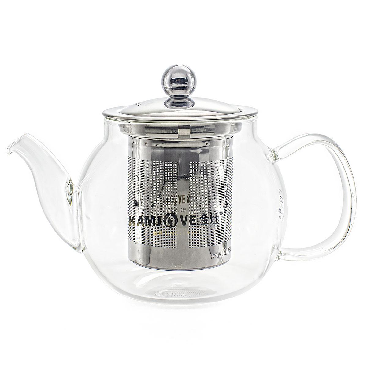 Стеклянный заварочный чайник Kamjove А-07 с ситом 600 мл.