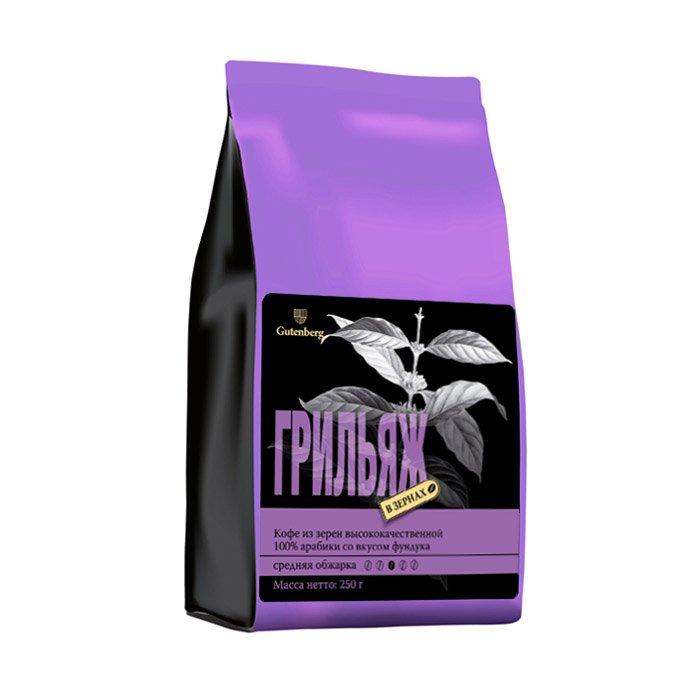 Купить со скидкой Кофе в зернах ароматизированный Грильяж, уп. 250 г