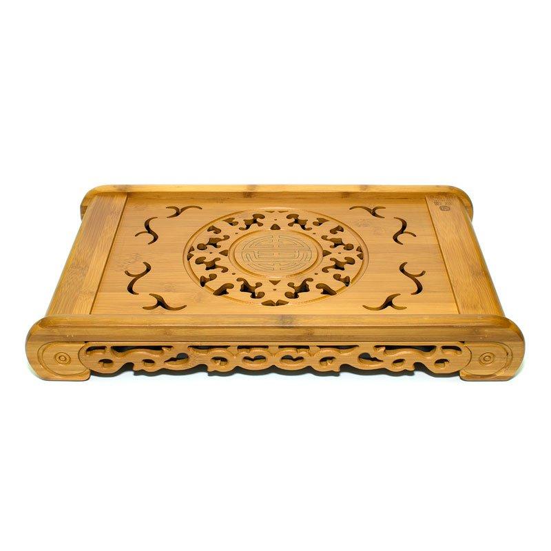 """Чайный поднос (Чабань) из бамбука """" Чжу фу Кун Мин"""" 49х29х7,5 см"""