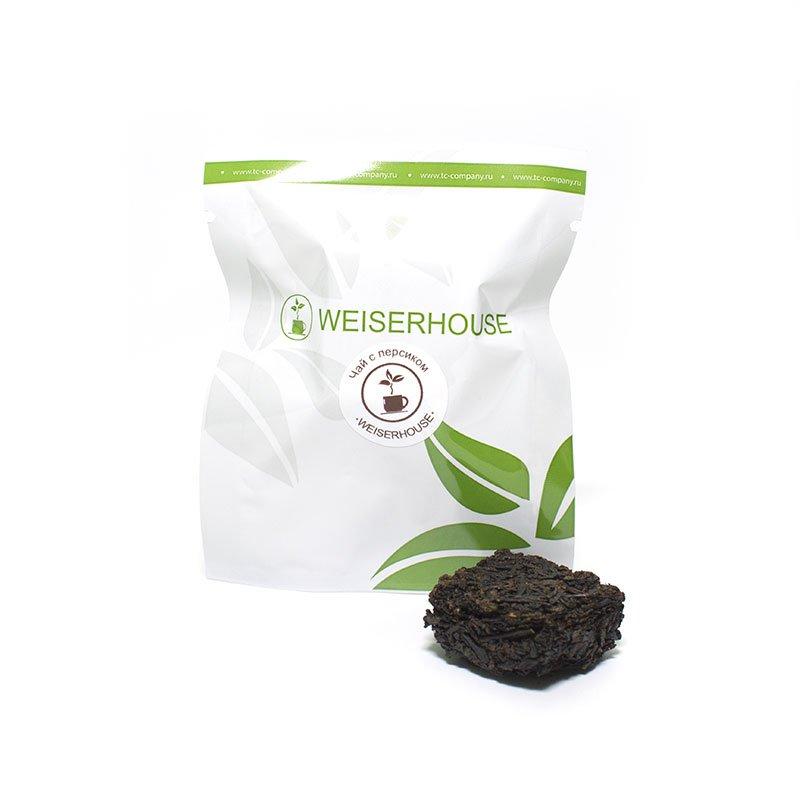Черный чай с персиком, прессованный в кубиках (5-7 гр.) в инд. упак.