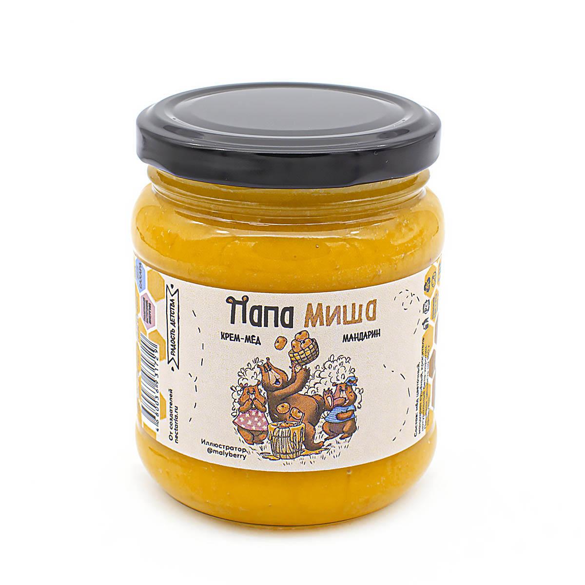 Крем-мёд Папа Миша Мандарин, 300 г дикий мёд