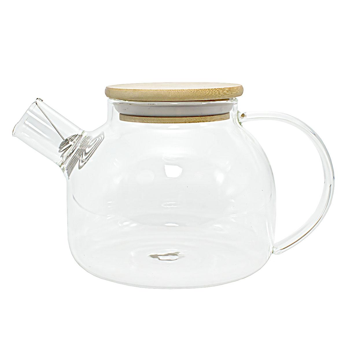 Фото - Заварочный стеклянный чайник с деревянной крышкой, 1000 мл фарфоровый заварочный чайник паркур 1000 мл