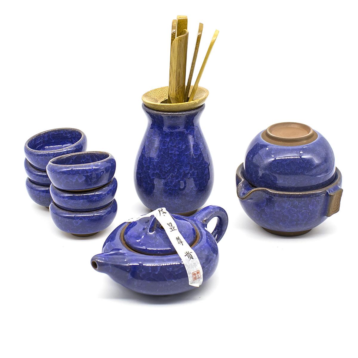 Набор для чаепития Колотый лед синий, 9 предметов