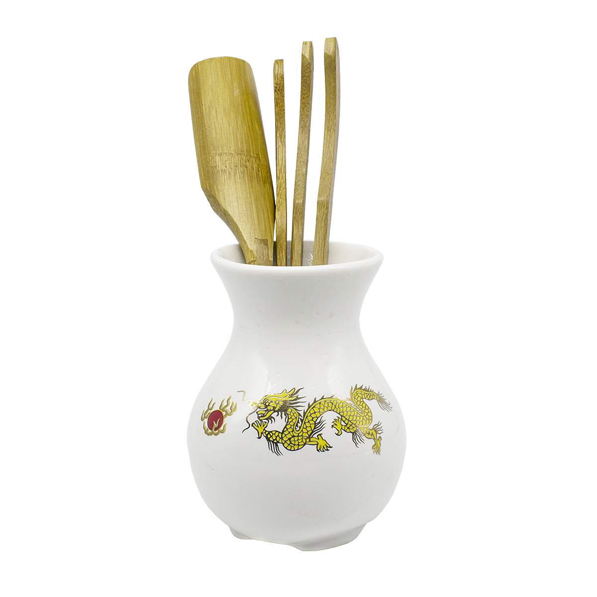 """Купить со скидкой Инструменты для чайной церемонии """"Золотой дракон"""", фарфор, дерево"""