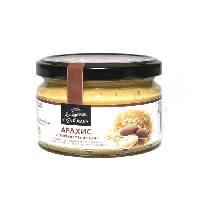 Паста из жареного арахиса с кусочками арахиса и тростниковым нерафинированным сахаром, 200 г
