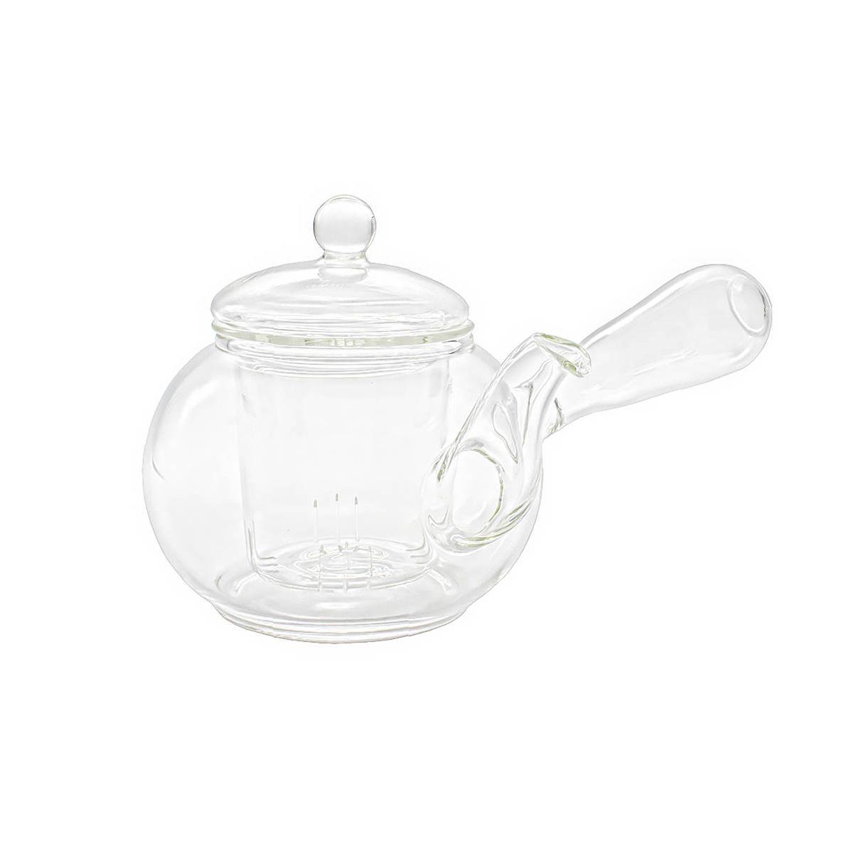 Стеклянный заварочный чайник с дутой ручкой 400 мл.