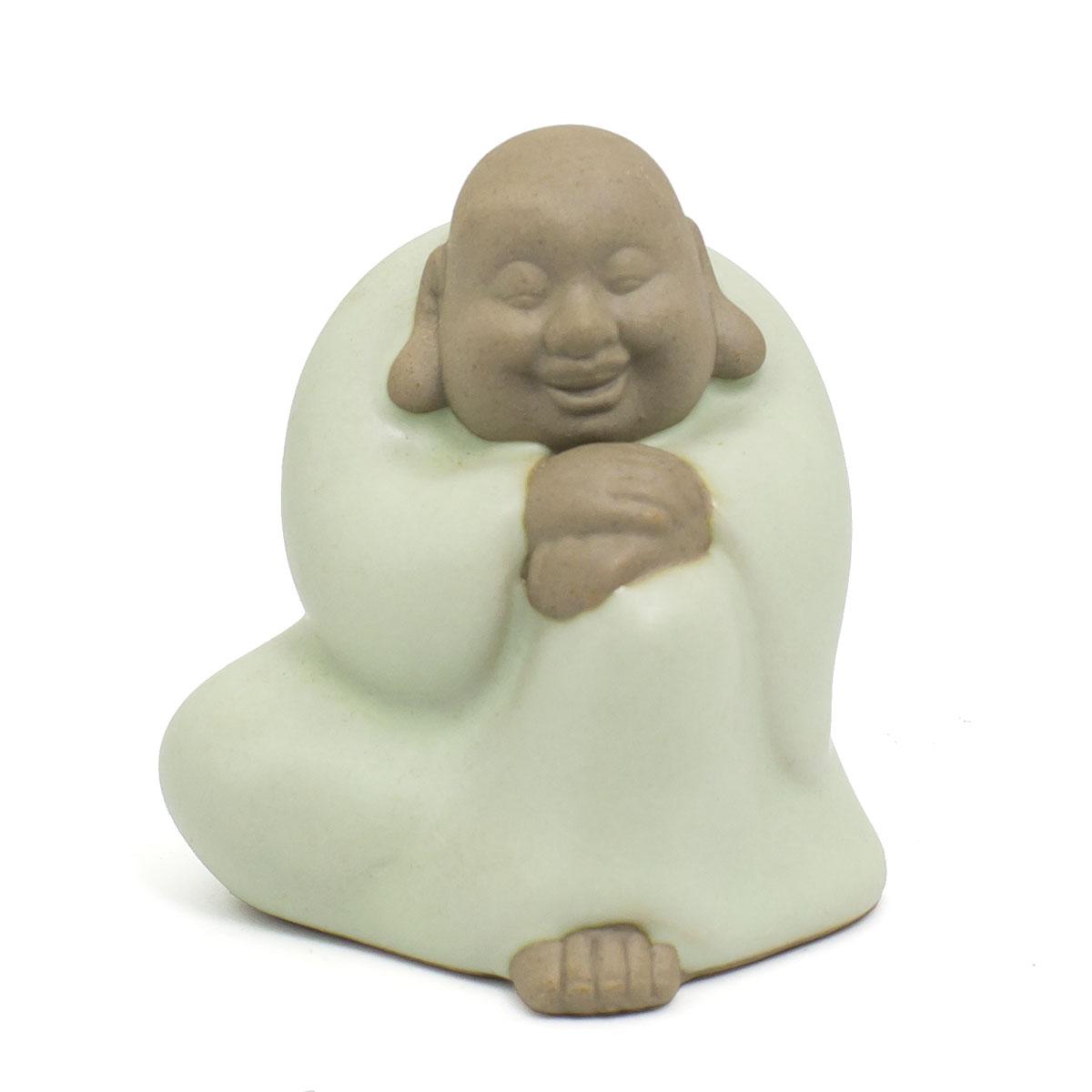 Чайная фигурка из глины с нефритовой эмалью Улыбчивый Будда кеды бирюзового цвета купить