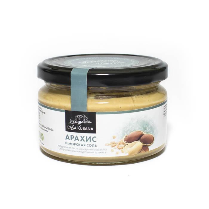 Паста из жареного арахиса с кусочками арахиса и морской солью, 200 г