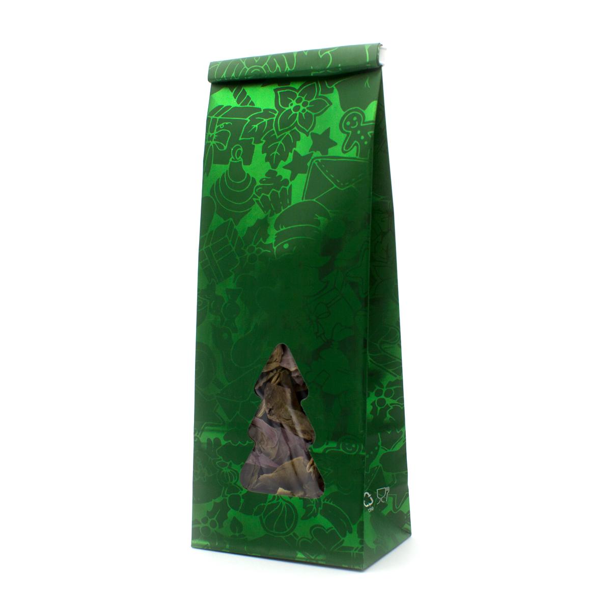 Пакет для чая 250 гр с окошком Новый год (22,5 х 8 см)