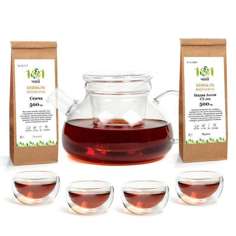 Набор: Заварочный чайник, 4 пиалы, 1 кг чая