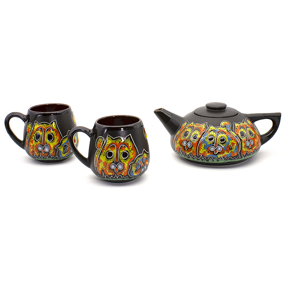 Набор Котики №2: 2 чашки 350 мл и чайник 750