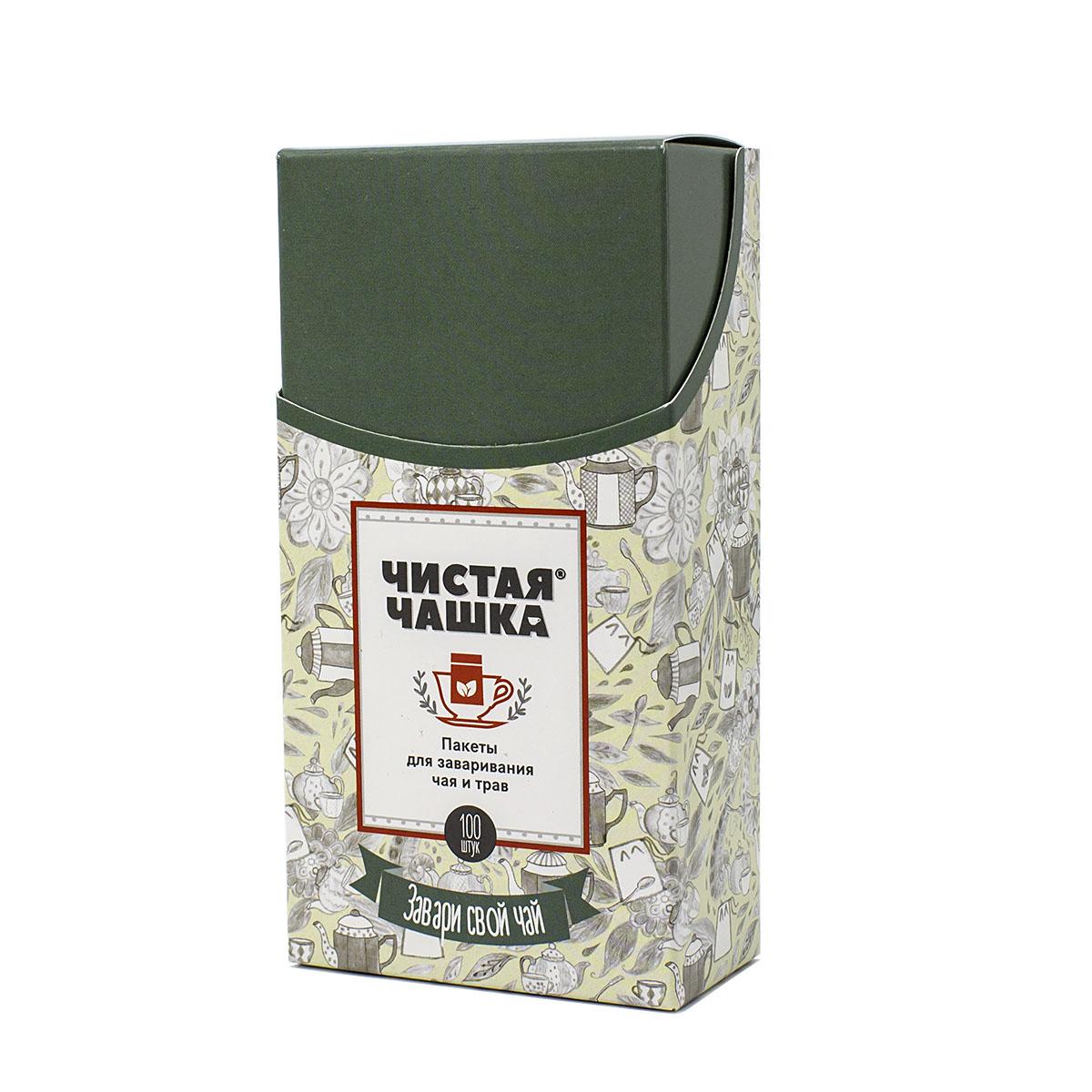 Фильтр-пакеты для заваривания чая и трав бумажные Чистая чашка, 5,5 х 12 см, 100 шт фильтр пакеты чистая чашка для заваривания чая и трав в кружке 5 штук