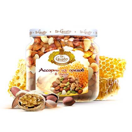 Ассорти из орехов в меду Te-Gusto, 300 г te gusto миндаль и инжир в меду 300 г