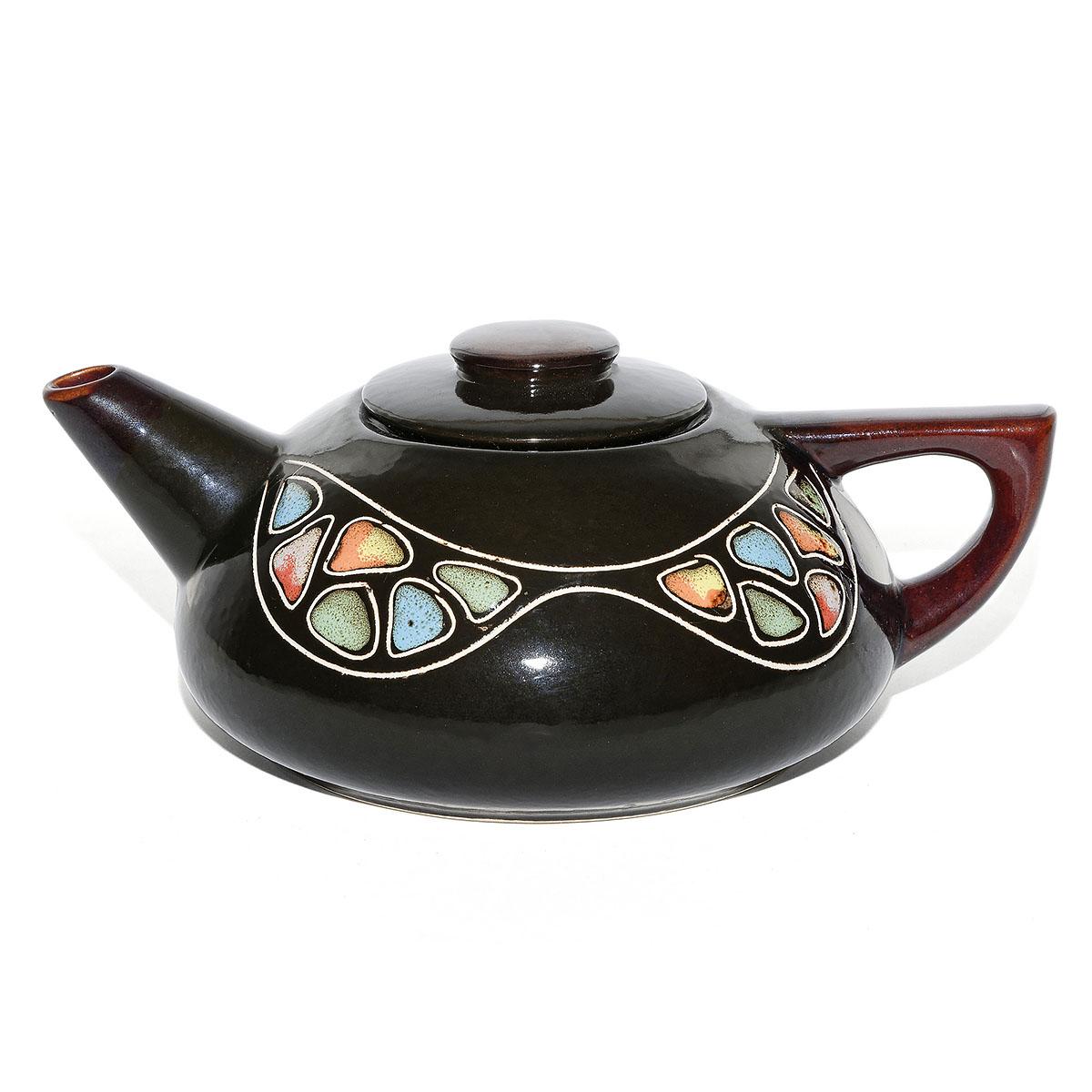 """Чайник глиняный """"Цветная волна"""", 750 мл"""