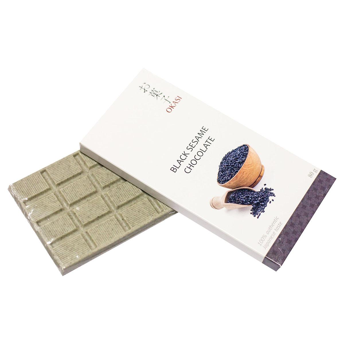 Шоколад Okasi с черным кунжутом, плитка, 80 г крекеры ufeelgood рисовые с черным кунжутом 60 г
