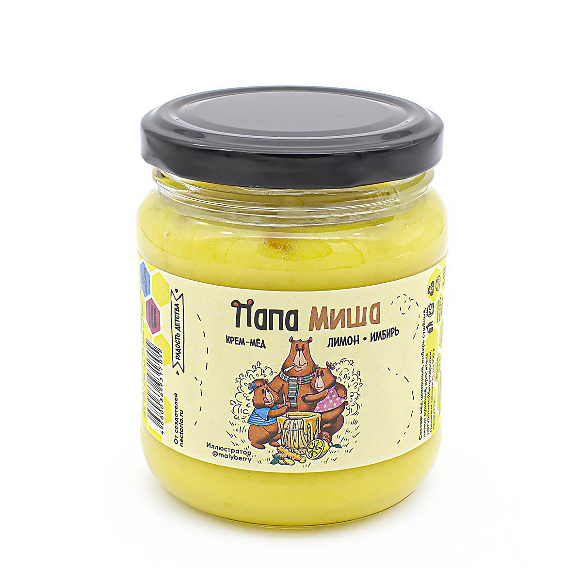 Крем-мёд Папа Миша Лимон-имбирь, 300 г имбирь натуральный gold kili пакетированный 80 г 20 саше