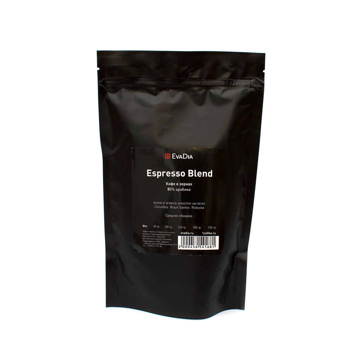 Кофе EvaDia «ESPRESSO BLEND», 80% арабика, medium roast, 250 грамм