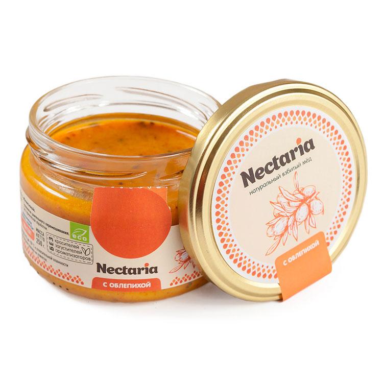 Крем-мёд Nectaria с облепихой, 250 гМёд<br>Взбитый мед с облепихой – это лакомство, вобравшее в себя всю пользу меда и душистых ягод. Состав продукта: натуральный мед, ягоды облепихи.<br>