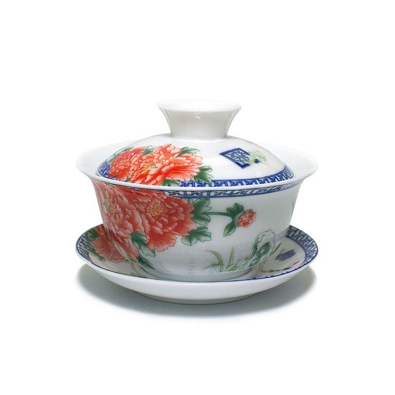 """Гайвань """"Красные цветы"""", фарфор, 150 мл"""