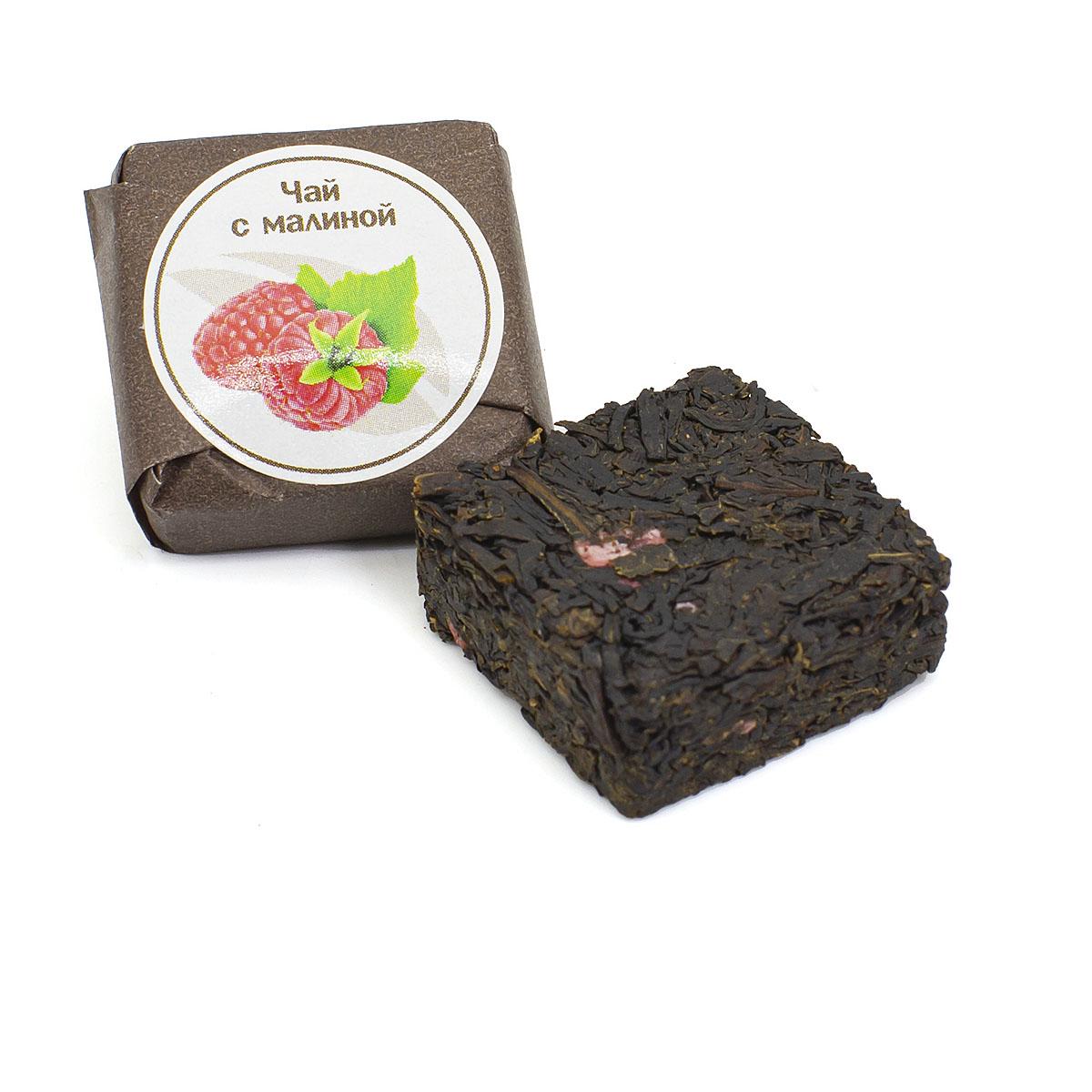 Чай с малиной прессованный, кубик 5-7 г чай черный байховый бонтон крепкий цейлонский крупнолистовой 726 с ароматом бергамота 100 г
