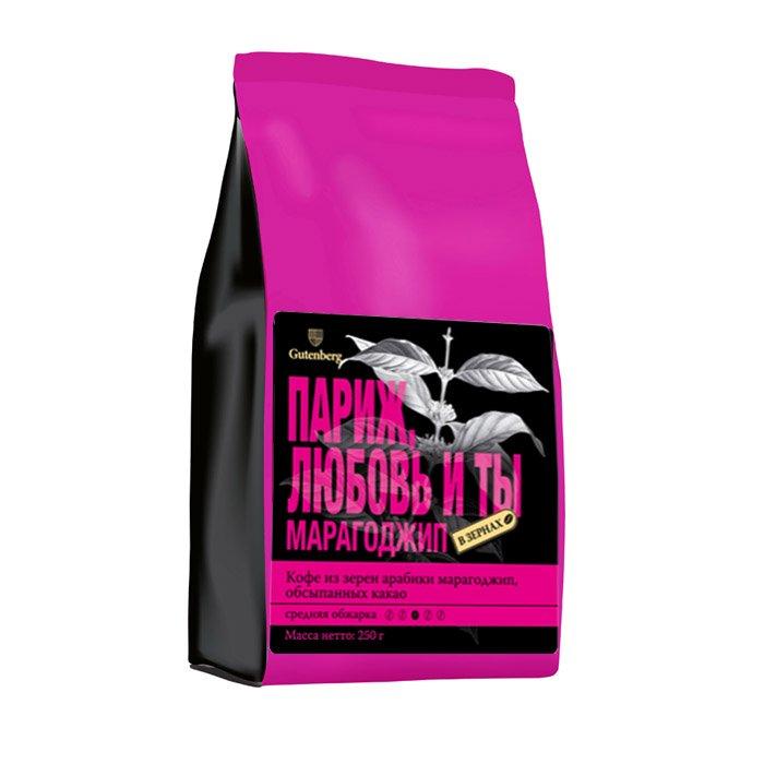Кофе в зернах Марагоджип в обсыпке какао-порошка Париж, Любовь и Ты, уп. 250 г от 101 Чай