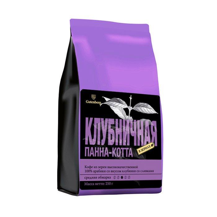Кофе в зернах ароматизированный Клубничная Панна-котта, уп. 250 г от 101 Чай