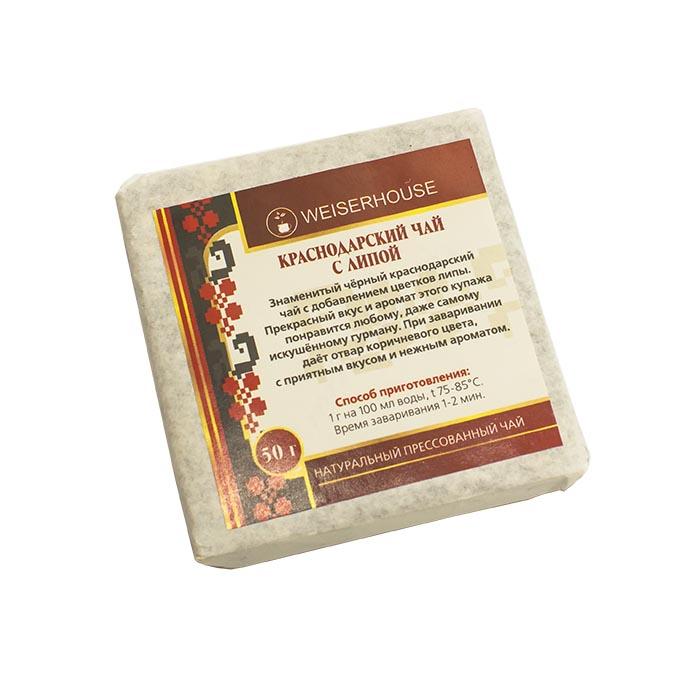 Краснодарский черный чай с липой прессованный, 50 г