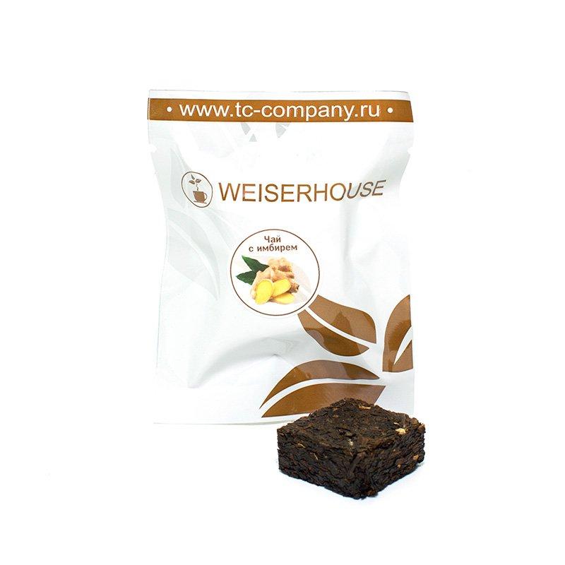 Черный чай с имбирем, прессованный в кубиках (5-7 гр.) в инд. упак.