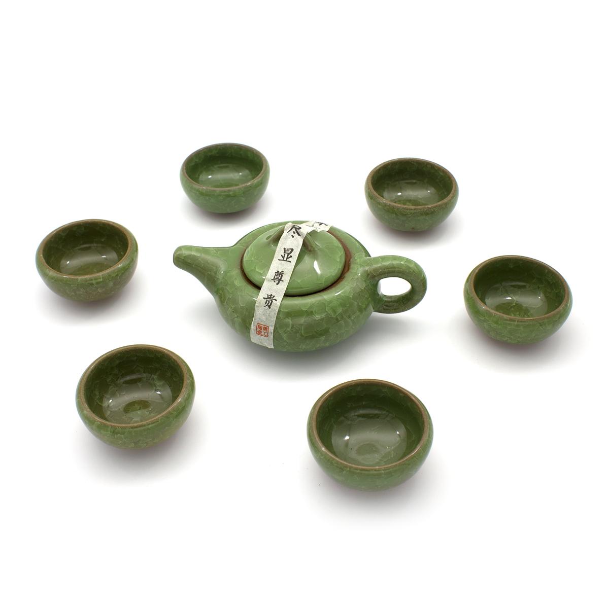 """Чайный сервиз """"Колотый лед"""" зеленый (7 предметов)"""