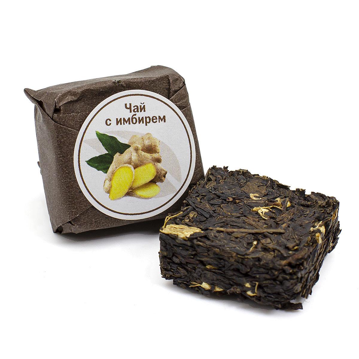 Чай с имбирем прессованный, кубик 5-7 г для похудения чай с имбирем
