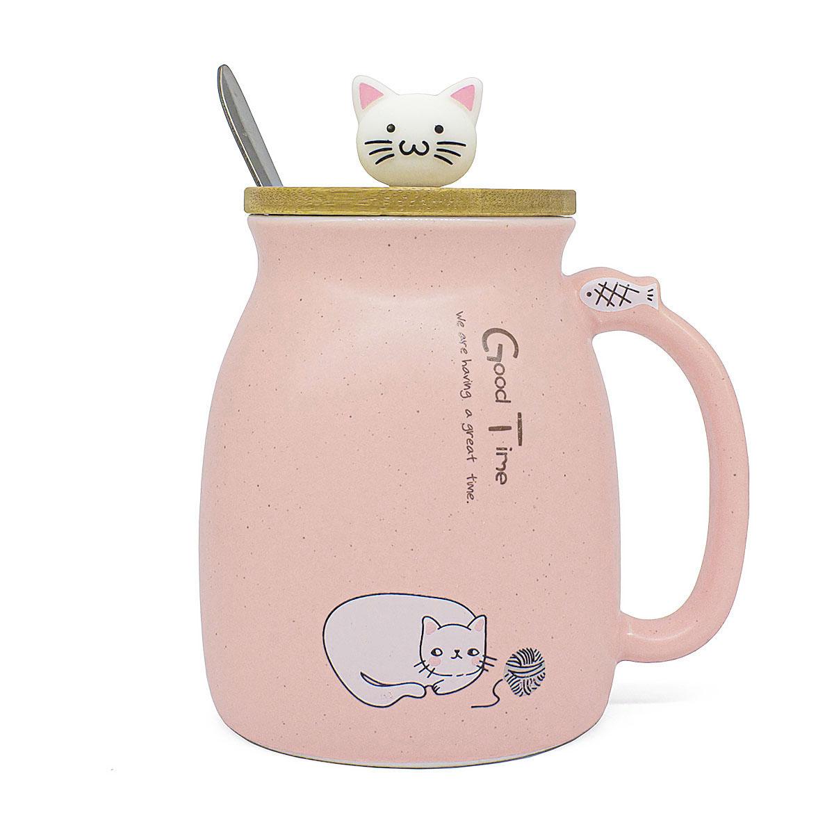 Кружка керамическая Котик с клубком, розовая, 450 мл