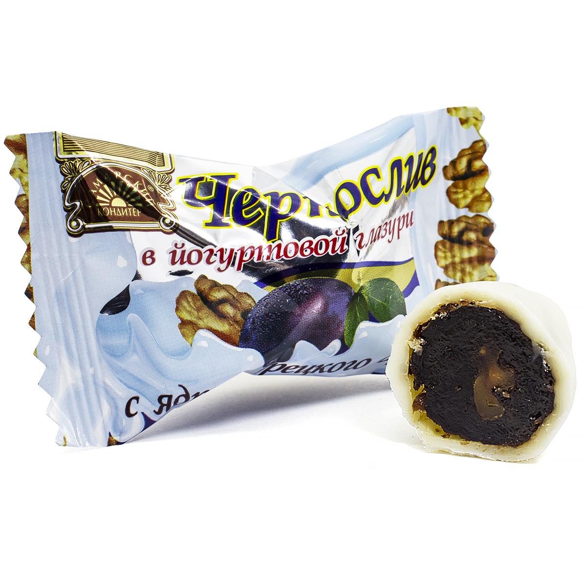 Конфеты Чернослив в йогуртовой глазури с грецким орехом, 200 г конфеты марсианка тирамису 200 г