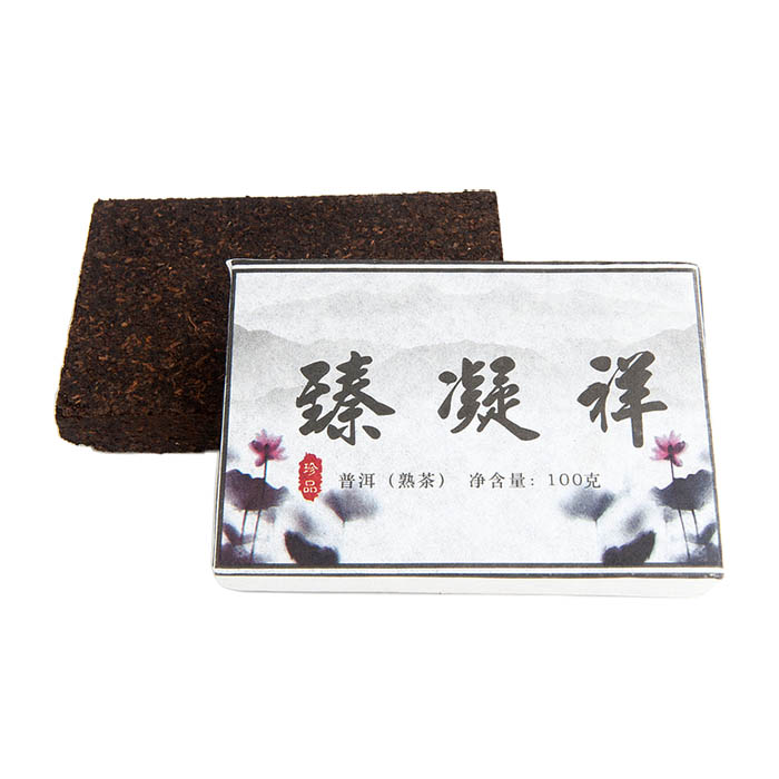 купить Гун Тин пуэр Рассветный лотос из Юндэ, фабрика Мэнхай Байлянь, 2013, кирпич 100 г недорого