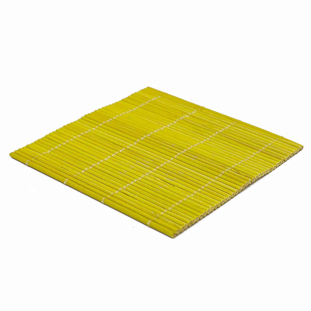 Набор чайных циновок (бамбук), желтые, 10 х 10 см, 5 шт/упак