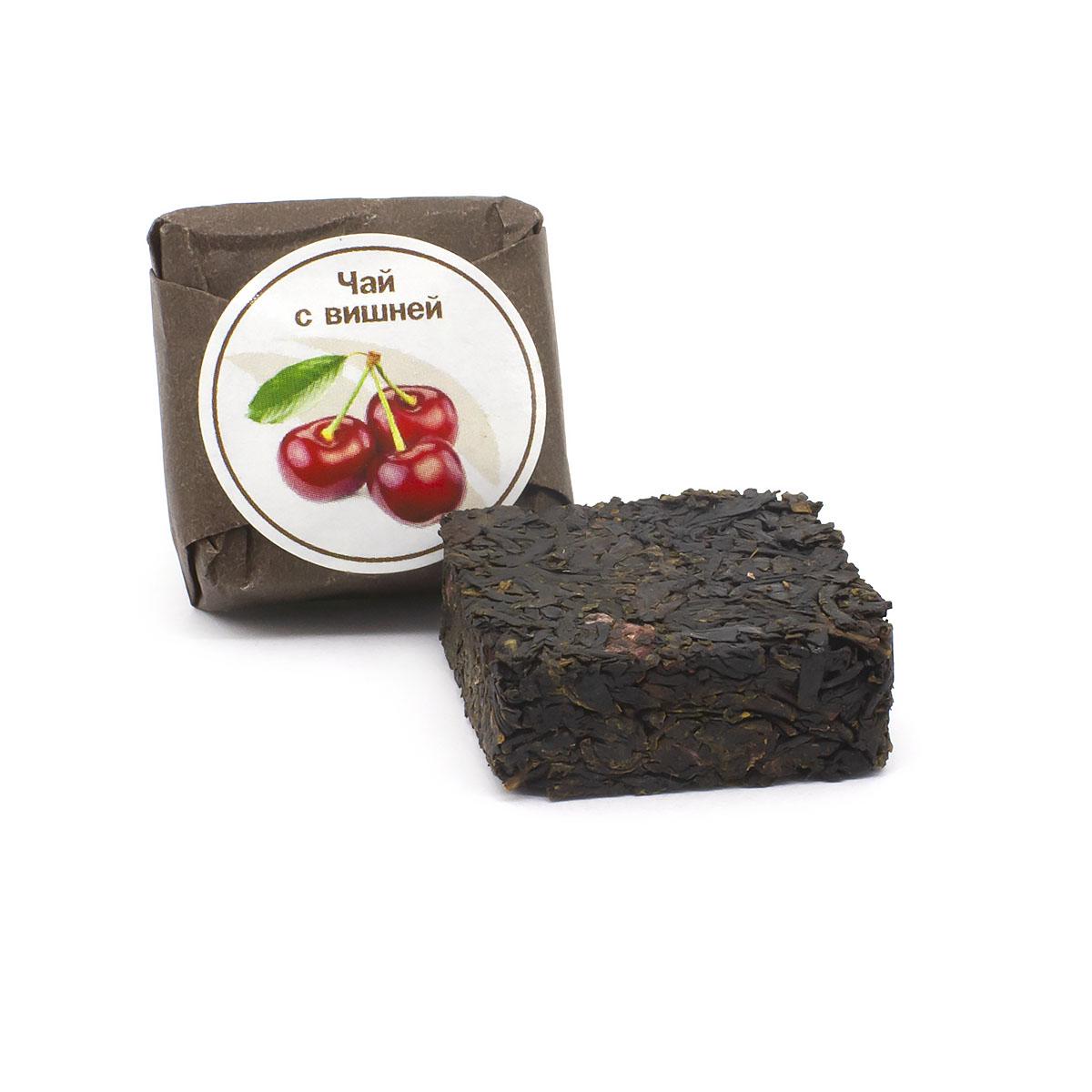 Чай с вишней прессованный, кубик 5-7 г чай черный байховый бонтон крепкий цейлонский крупнолистовой 726 с ароматом бергамота 100 г