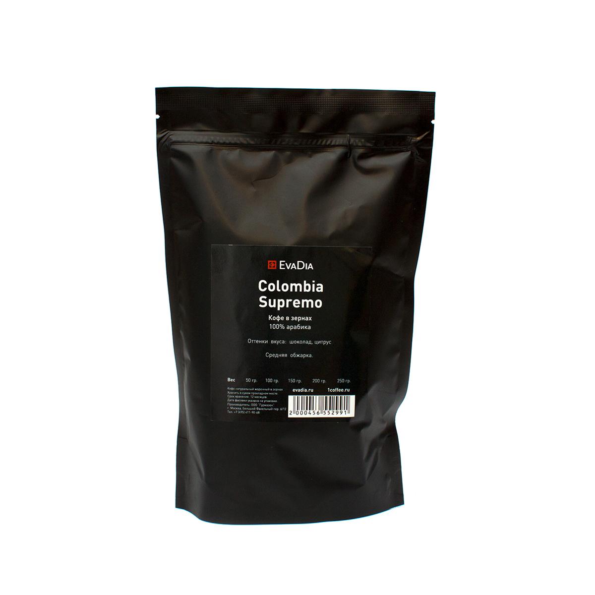 Кофе в зернах EvaDia Колумбия Супремо, 250 г