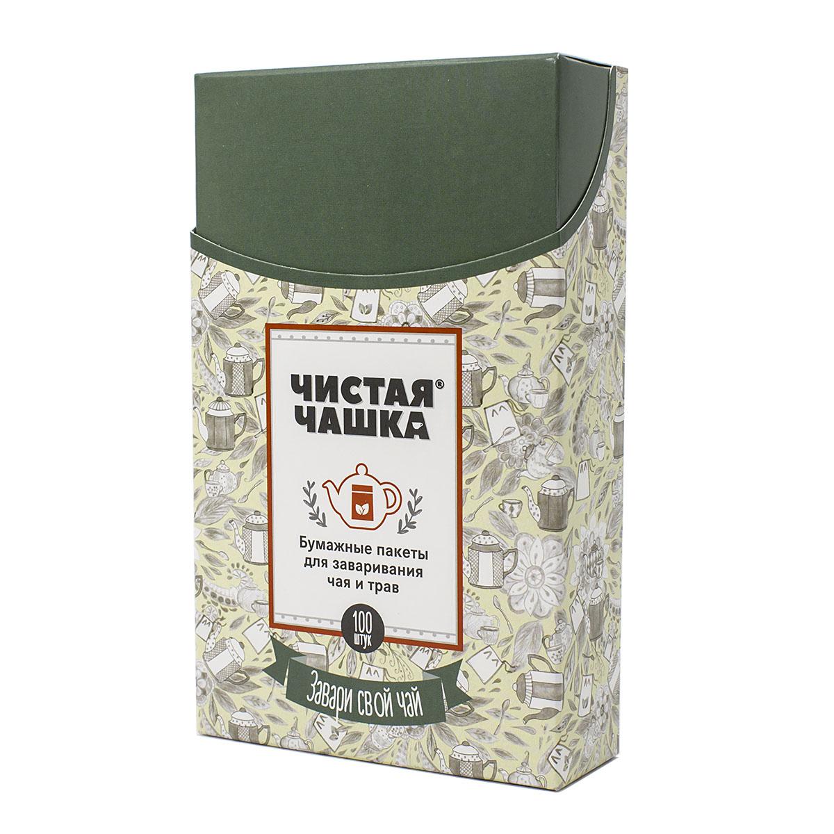 Фильтр-пакеты для заваривания чая и трав бумажные Чистая чашка, 9х15 см, 100 шт кружка для заваривания чая rosenberg 0 3 л голубой