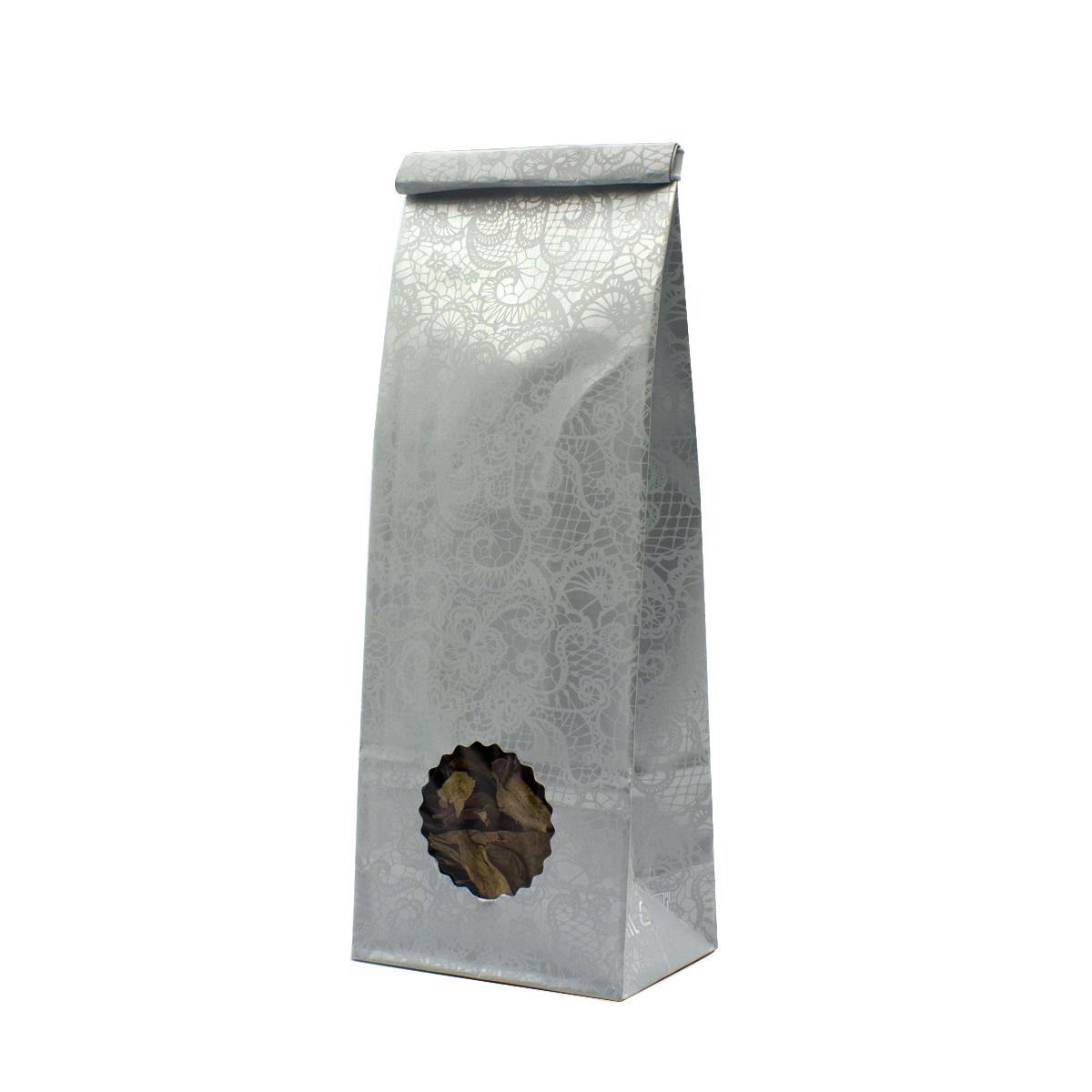 Пакет для чая 250 гр с окошком Белые кружева (22,5 х 8 см)