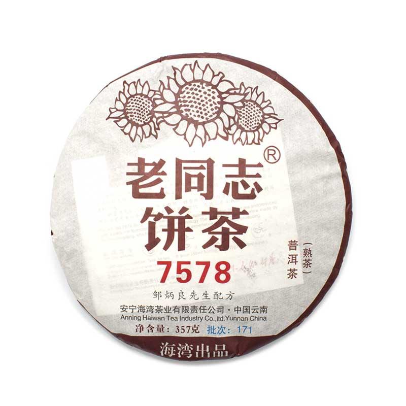 """Шу пуэр Лао Тун Чжи """"7578"""", 2017 г, блин 357 гр."""