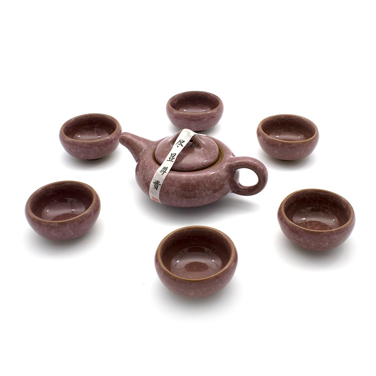 """Чайный сервиз """"Колотый лед"""" бордовый (7 предметов)"""