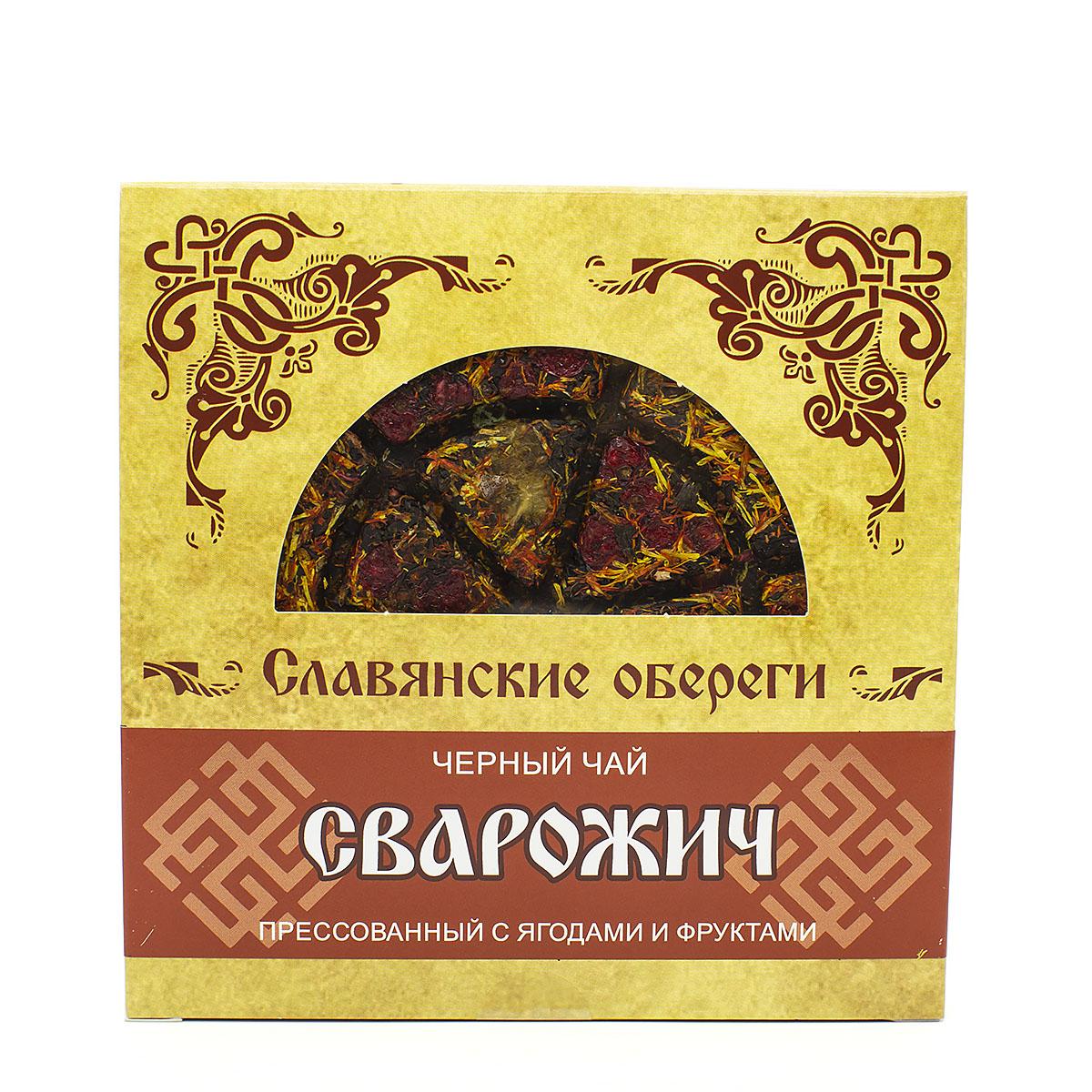 Чай чёрный Сварожич, прессованный, блин, 125 г